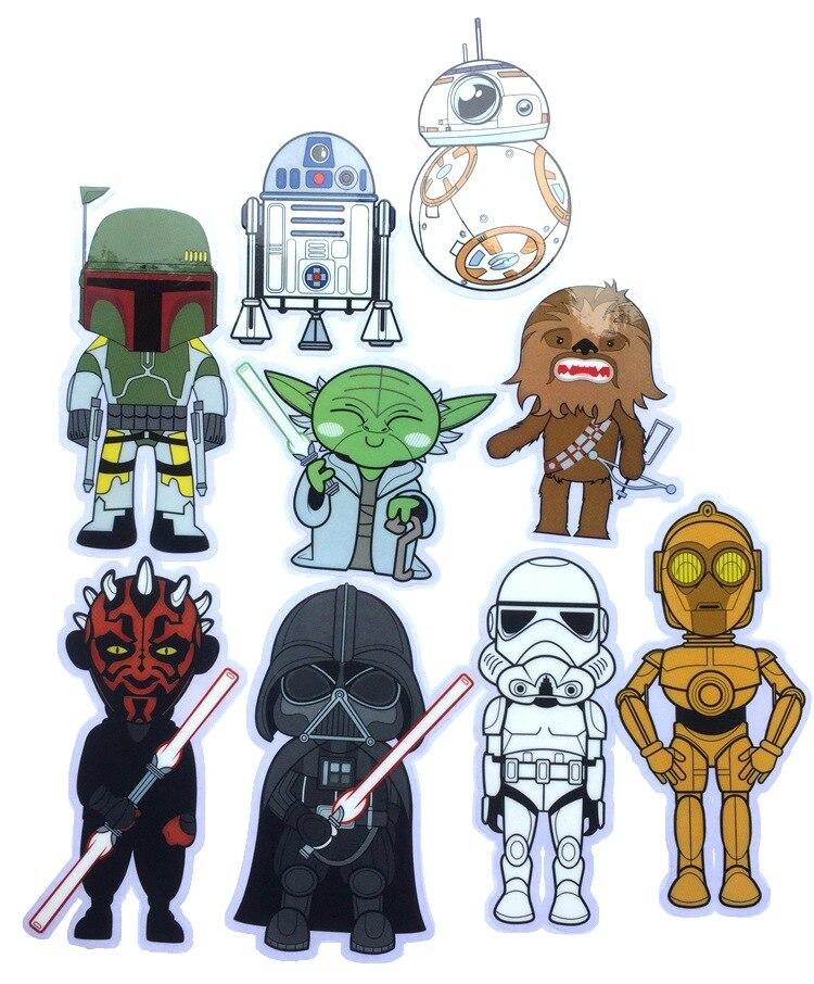 1 Stks Star Wars Cartoon Stickers De Force Wekt Platte Stickers Voor Muur Deco Notebook Water Cup Telefoon Deco Pvc Sticker Verlichten Van Reuma En Verkoudheid