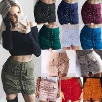 M H Artemis Chic Autumn Lace Up Faux Suede Women Pencil Skirt Pocket Preppy Short Skirt
