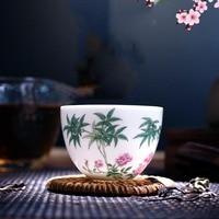 Jingdezhen Porcelain Tea Cup Hand Painted Enamel Tea Cup Exquisite Drinkware Office Tea Ceremony Small Bowl Decor Collection