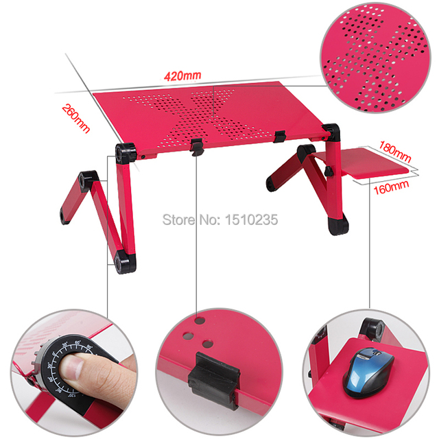 Multi Functional Ergonomic mobile laptop table stand for bed Portable sofa laptop table foldable notebook Desk with mouse pad 4
