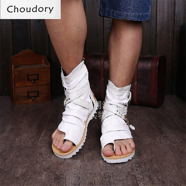 a85f6159990 Choudory Solid Flat Rome Flip-Flop Ankle Leather Boots Men Zipper Cutouts  Breathable Casual Shoes Platform Mens Chukka Boots Men