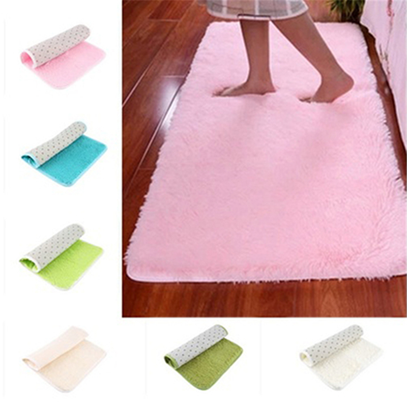 Home Door Soft Anti-Skid Carpet Flokati Shaggy Rug Non Slip Floor Bedroom Kitchen Toilet Floor Mats
