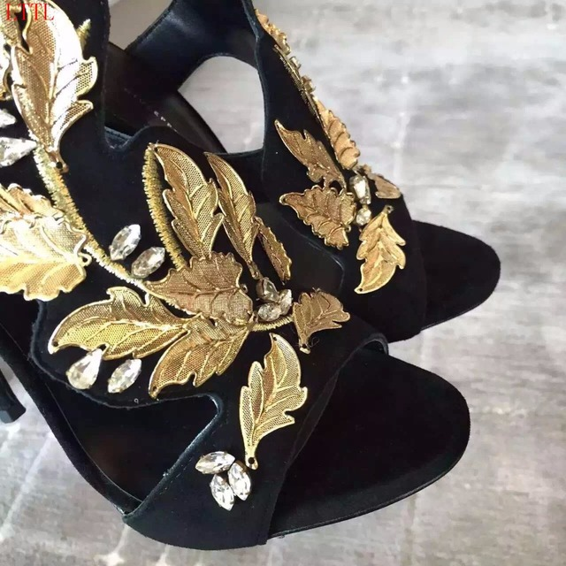 Summer Hot Gold Leaf High Heel Sandals Sexy Cut Out Party Shoes luxury Gold Flowerg plus size Wedding Shoes Woman Real Photo