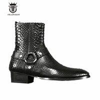 2017 Winter Trend Genuine Leather Crocodile Pattern Martin Boots Men Fashion Catwalk Idlers Chelsea Boots