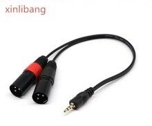 где купить 3.5 mm mini jack Stereo TRS to Dual XLR 3 pin Male Plug unbalanced Interconnect Cable,Y splitter patch cable cord по лучшей цене