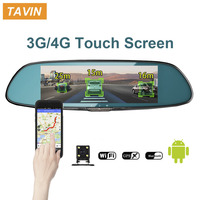TAVIN 3G/4G GPS navigation Car Dvr 7 Touch screen Car Camera Android 5.0 Bluetooth Wifi Rearview Mirror Dash Cam Video Recorder