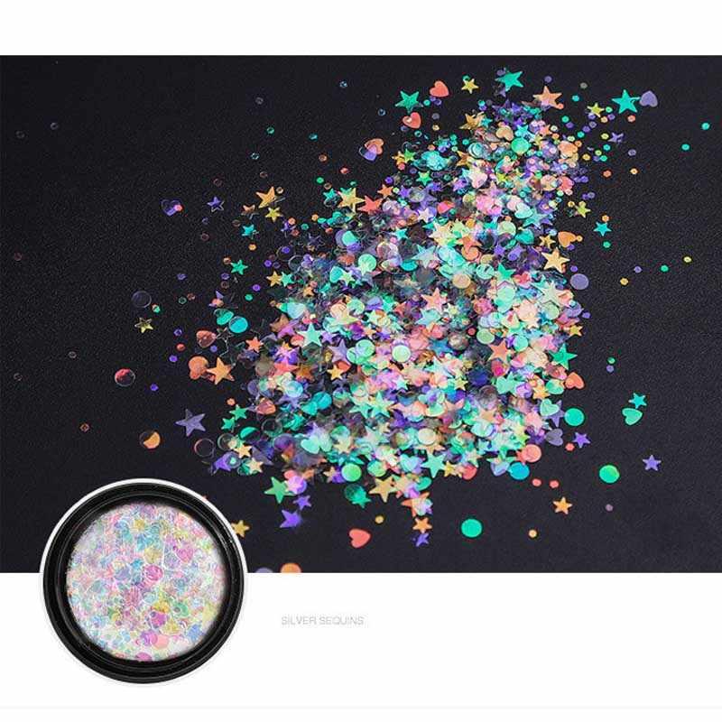 เลเซอร์ Holographic เล็บปลอม Glitter ต่างๆ paillette เล็บเล็บ Moon Star ออกแบบสำหรับตกแต่งเล็บ