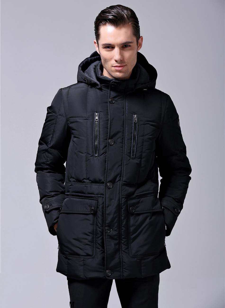 2017 new business gentleman duck down coat casual male jacket medium-long thickening with a hood black plus big size 2xl 3xl xxl