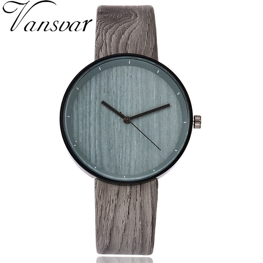 Vansvar Brand Imitation Wood Grain Watch Simple Leather Wooden Vintage Female Wristwatches Fashion Women Creative Quartz Clock bobo bird brand new sun glasses men square wood oversized zebra wood sunglasses women with wooden box oculos 2017