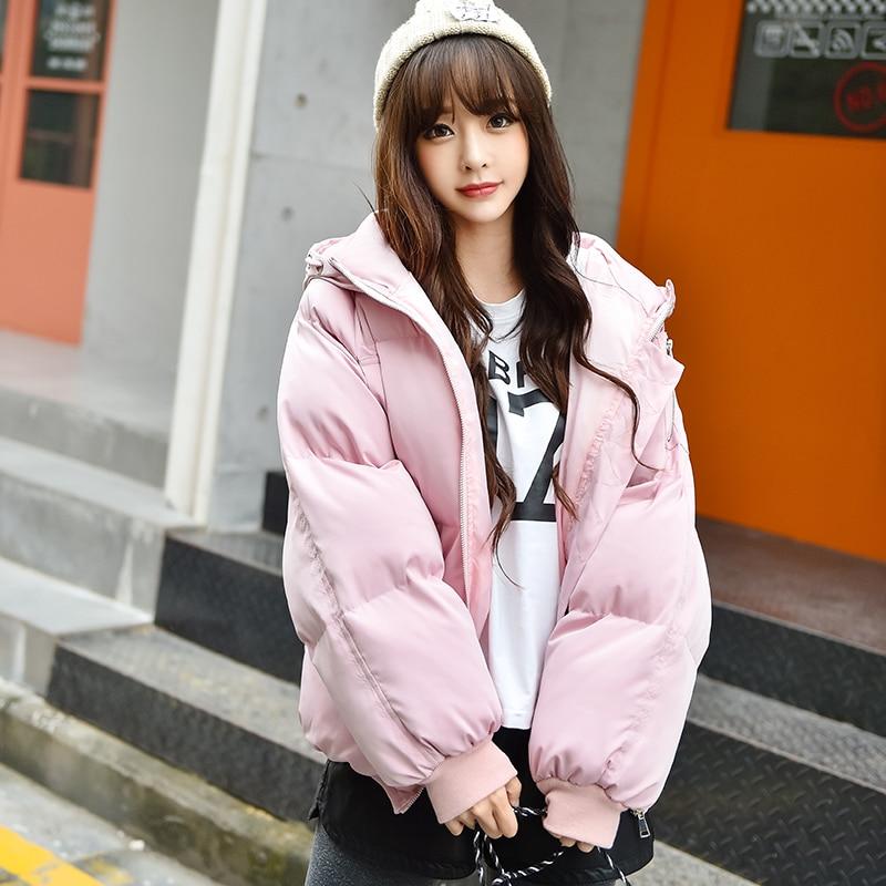 Autumn Winter Keep warm Hooded Down cotton clothing Basic Jacket Lambswool Bomber Jacket Women Long Sleeve Jacket Casual  Jacket