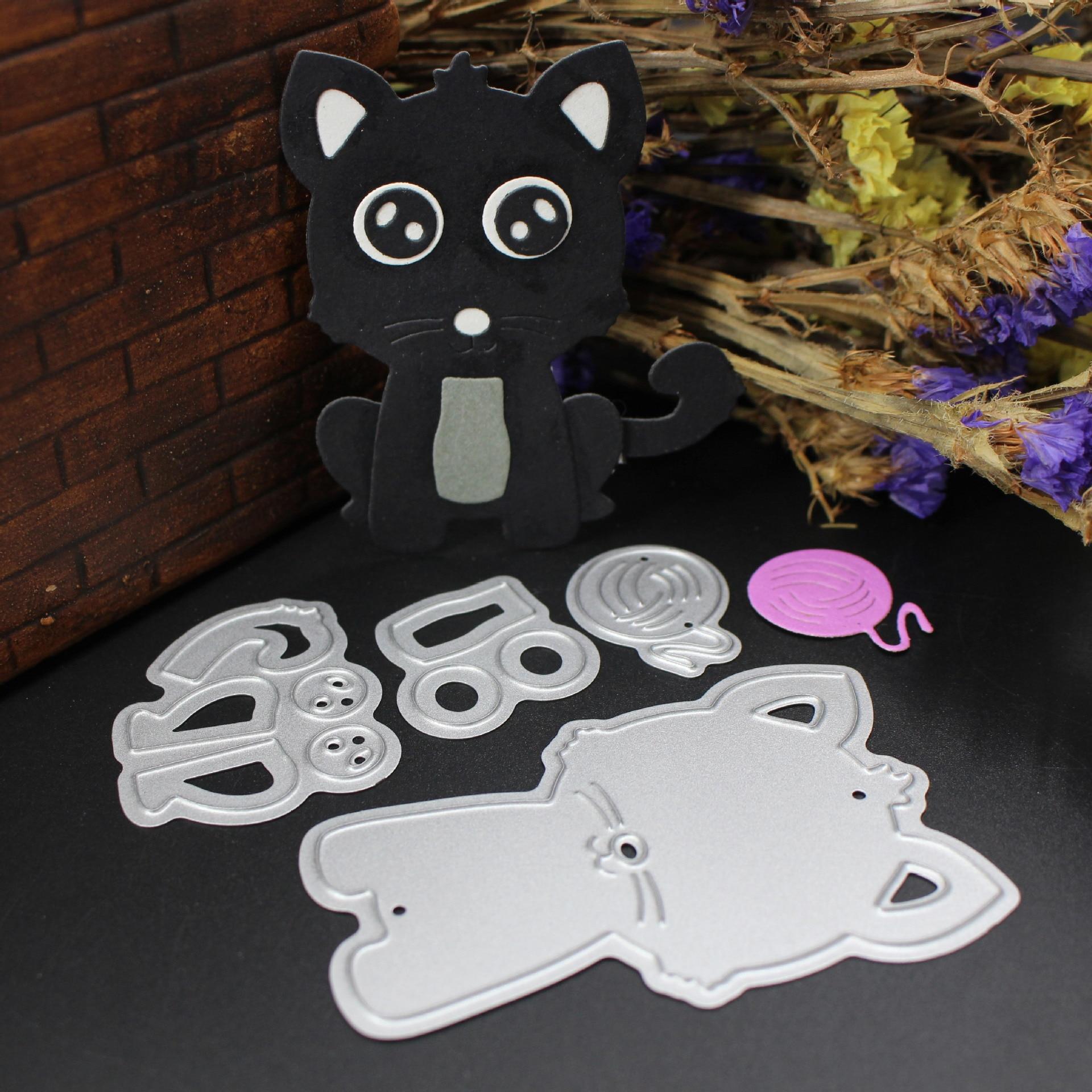 AZSG Kitten Cutting Dies For DIY Scrapbooking Decoretive Embossing Stencial DIY Decoative Cards Die Cutter in Cutting Dies from Home Garden