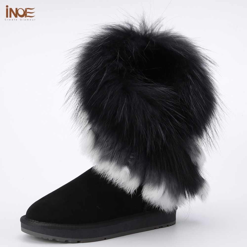 INOE אמיתי שועל פרווה כבש עור כבשים פרווה מרופד אופנה זמש חורף שלג מגפי נשים חורף נעלי שחור חום גדילים