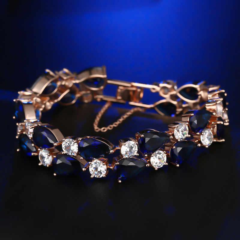 FYM המונה ליזה מותג יוקרה עלה צמיד צבע זהב עם זירקון AAA צמידי צמידי קריסטל Femme לנשים מסיבת חתונה