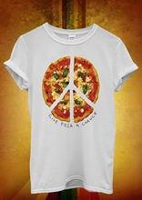 Give Pizza A Chance World Peace Love Men Women Unisex T Shirt Top Vest 830 Hot Sell 2018 Fashion  T Shirt Short Sleeve цена