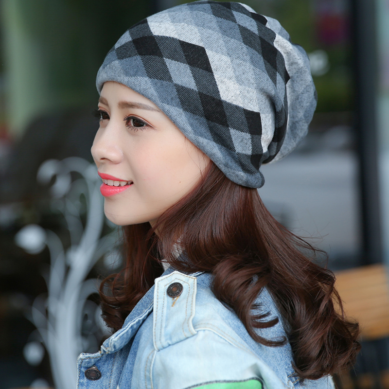 2017 Autumn Winter Casual Brand Hats for Women Plaid Lady Caps Letter Printed Pile Cap Female Beanies Wholesale and Retail female caps for autumn