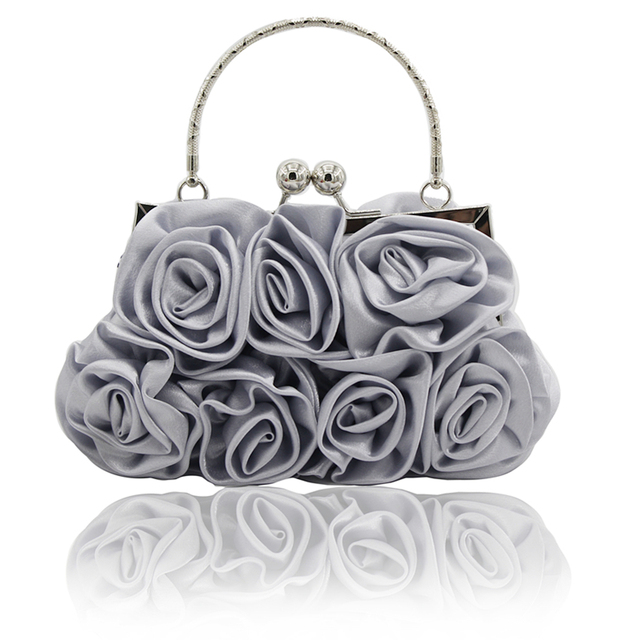 2017 Rushed New Arrival Frame Kingluck Flower Design Satin And Women  Wedding Brial Clutch Bag evening Handbags(more Colors)