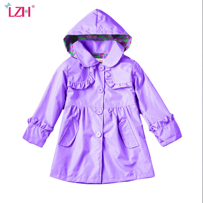 LZH Girls Windbreaker 2017 Wintet Autumn Girls Jacket For Girls Trench Coat Kids Hooded Raincoat Coat Outerwear Children Clothes