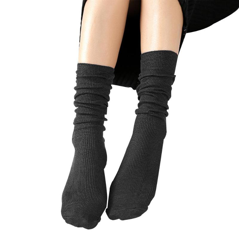 Fashion Winter Autumn Women Girls Cotton Solid Color Casual Tube Stacked Socks Ladies Female Long Warm Socks Gift Accessories