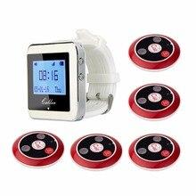 Receptor de reloj pulsera inalámbrico RETEKESS de 433MHz + 5 botones de llamada del transmisor buscapersonas equipo de restaurante buscapersonas de cuatro teclas