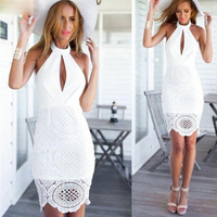 Women sexy lace hollow out celebrity bandage dress backless open back halter club party mini dress white black drop ship MD457
