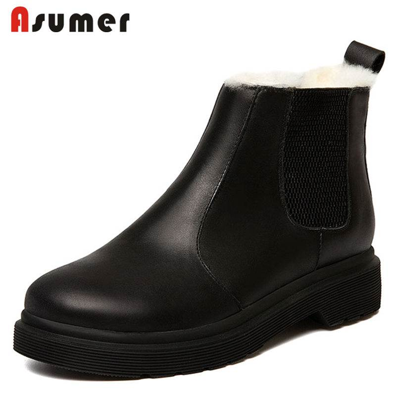 ASUMER HOT SALE 2018 fashion fur genuine leather snow boots slip on round toe ankle boots for women med heels winter boots hot sale shoes women boots solid slip on soft cute women snow boots round toe flat with winter fur ankle boots
