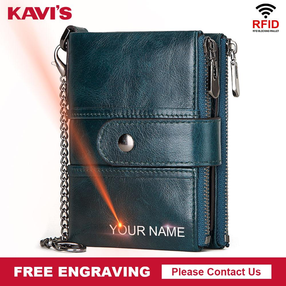 KAVIS Rfid Free Engraving Genuine Leather Wallet Men Crazy Horse Wallets Coin Purse Short Male Money Bag Walet High Quality