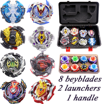 Beyblade Burst Bey blades Arena Toys Set Metal Fusion 4D Bayblade Toys For Children Spinning Top 8Beyblades+2 Launchers+1 Handle beyblade set