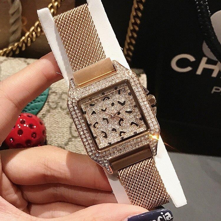 2019 marque de luxe dame cristal montre femmes robe montre de mode Rose or Quartz montre femme en acier inoxydable violet montres-in Montres femme from Montres    1