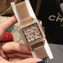 Reloj de cristal de marca de lujo para mujer, reloj de vestir para mujer, reloj de cuarzo dorado rosa, relojes de pulsera de acero inoxidable púrpura para mujer 2019