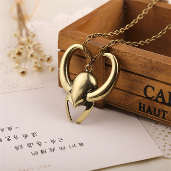 Loki Helmet Necklace Golden Color Pendant 2