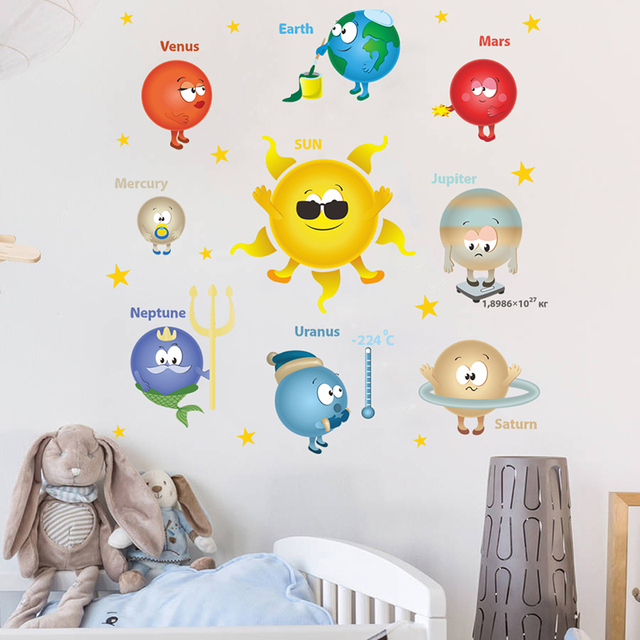 US $2 8 20% OFF|Cartoon Planets Solar System Wall Stickers For Kindergarten  Classroom Kids Room Home Decoration PVC Nursery Mural Art Wall Decal-in