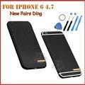2016 для iphone 6 Высокая Qualtiy Новый Париж Динь Задняя Крышка корпус крышка Батарейного отсека Металл Ближний Рамка Для iPhone6 4.7 Черный цвет