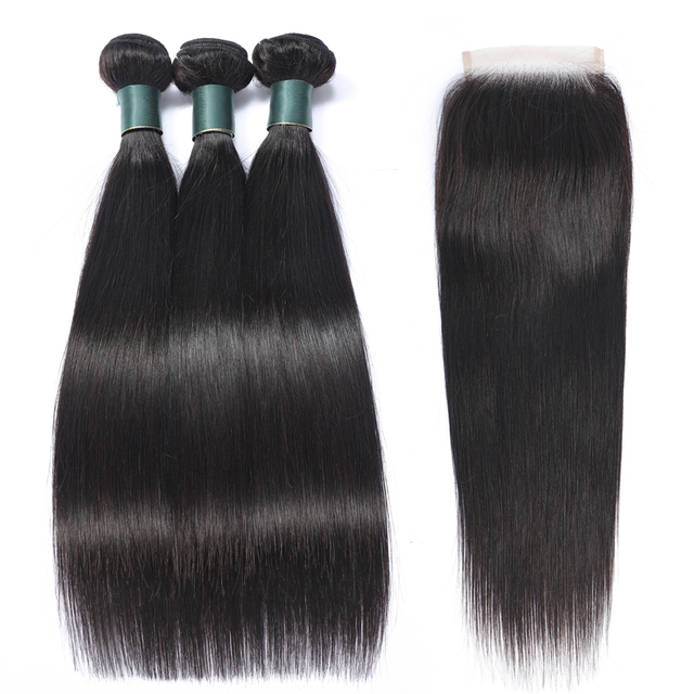 Superfect Straight Hair Bundles With Closure Brazilian Human Hair Weave Bundles With Closure Non Remy Lace Closure With Bundles