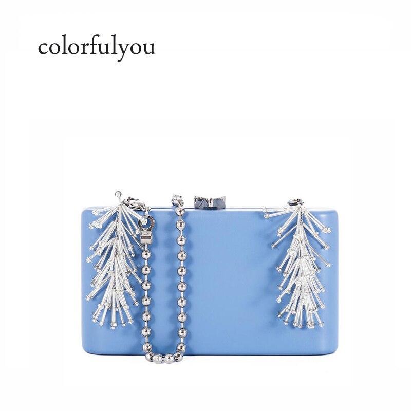 Sac à main de luxe bleu PU cuir perlé gland sacs à bandoulière pour femmes 2018 nouveau Designer dame petite boîte sac à bandoulière sacs à main