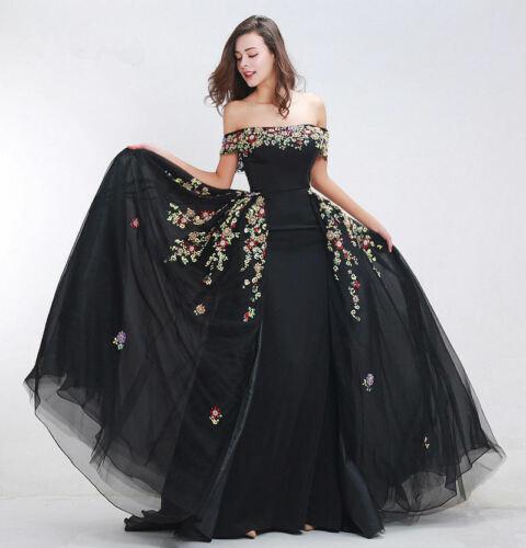 Épaule dénudée longue soirée noire femmes robes une ligne perles formelle Pageant robes de bal