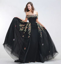 Off Shoulder Long Black Evening women Dresses A Line Beading Formal Pageant Prom Gowns