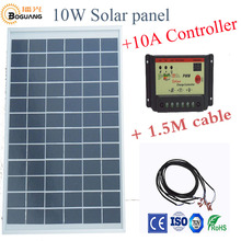 Boguang 1x10W polycrystalline solar panel module cell 12V+10A controller DIY kits for toys light  science toy experiment outdoor
