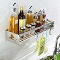 ABLA 304 Нержавеющая сталь кухонная ванная комната настенные полки с крючками 50 см длина Угловая душевая полка многофункциональная Storag