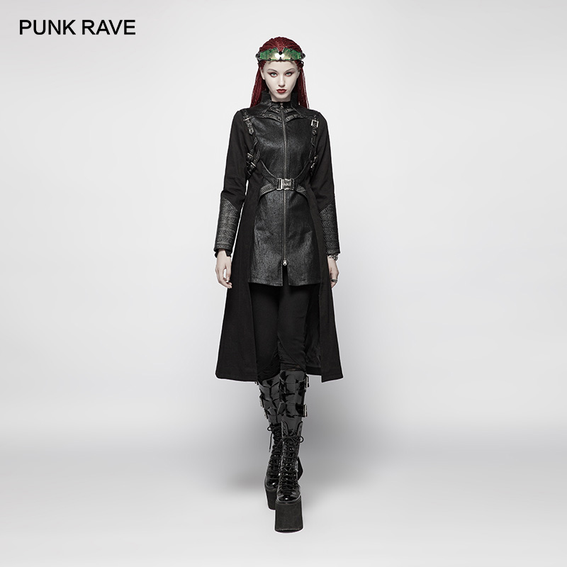 PUNK RAVE Women s Punk Jackets Black Long Jaket Coat Stage Perform Costume Fashion Women Gothic