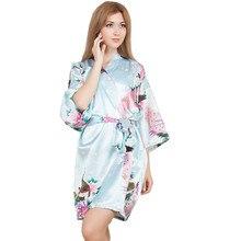 New Wedding Bride Bridesmaid Robe Floral Bathrobe Short Kimono Night Robe Bath Robe Fashion Dressing Gown For Women One Size T10