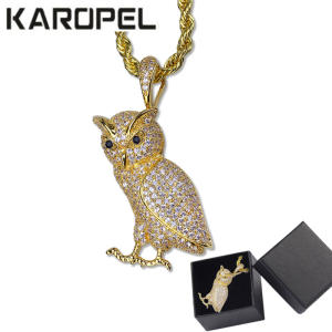 Hip Hop Animal Necklace Copper Golden Iced Out Micro Pave CZ Stone Owl Pendant Necklaces 24 Stainless Steel Rope Chain