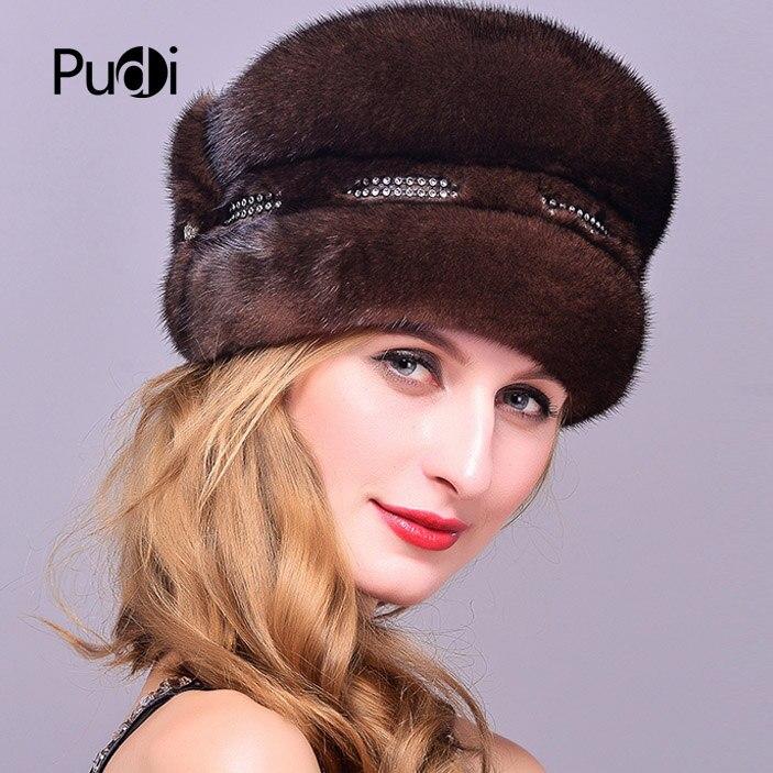 Pudi HF7044 женская шапка из меха норки, новинка 2017, бейсболки из натурального меха норки - 5