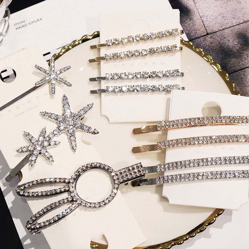 Shiny Crystal Rhinestones Hairpins Barrettes Snowflake Rabbit Shape Hair Clips Hairstyle Design Styling Tool Hair Accessories
