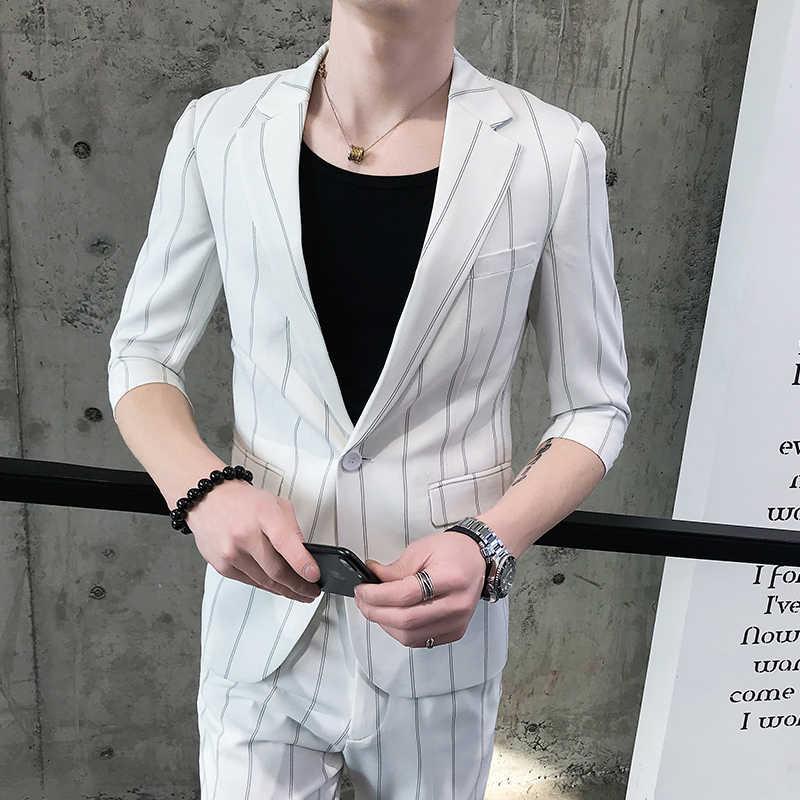 カスタム智ハン版半袖のスーツ若い男性と英国 7 長袖ミドルため男性