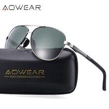AOWEAR Mens Driver Glasses Aluminium Magnesium Pilot Sunglasses
