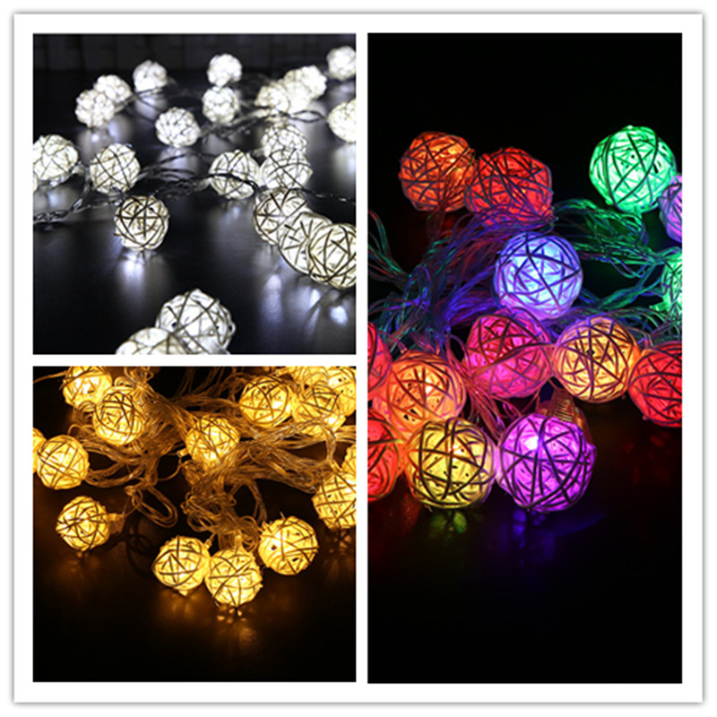Led 2m 20leds Xmas Holiday Christmas Light 2M Fairy Rattan Ball String Lamp White Warm Colorful Decoration for Xmas New Year Wedding festival Party (22)