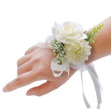 Hand Wrist Flower Pink Bridal Bracelet Corsage Flowers Accessories Wedding Hands