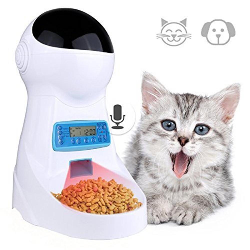 Nicrew Pet U 3L Automatische Tiernahrung Feeder Mit Stimme Aufnahme/LCD Bildschirm Schüssel Für Medium Kleine Hund katze Spender 4 mal-in Katzen Futter- und Wasserversorgung aus Heim und Garten bei  Gruppe 1