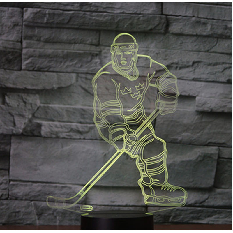3D LED Night Light Play Hockey with 7 Colors Light for Home Decoration Lamp Amazing Visualization Optical Illusion Awesome creative led 3d nightlight hockey for kid boy gift wall decoration holiday party hockey lighting iy303166 5