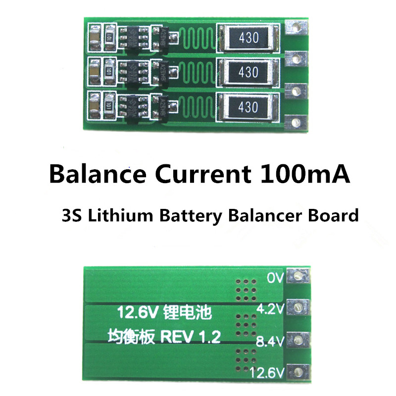 3S 100mA Lithium Battery Balancer Board 18650 Li-ion Battery Balancing Board Balance Current 1.1V 12.6V